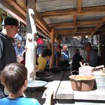 The train conductor explained how gold panning worked back in the day