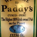 welcome sign at paddy's pub