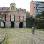 Old tram lines at the Porte do Roubaix.