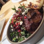 Slow cooked lamb neck with pistachio, fennel, pomegranate & brown lentils.  Served with hand cut