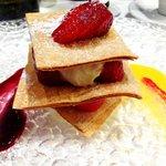white chocolate Napoleon with fresh strawberries