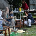 Ethiopian coffee ceremony and breakfast time