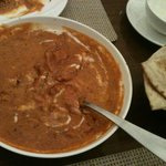 yummy butter chicken and garlic naan