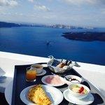 Breakfast day2!! Yum Yum with Aegean Seaview!!