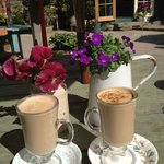 Latte for 2 out the back of Ambledown Tea Rooms