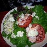 Delicious Avocado salad with crabmeat and shrimp