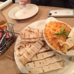 hot cheesy crab dip with flatbread