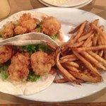 fried shrimp tacos with brine fries