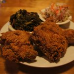 fried chicken, collards and slaw