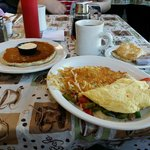 The pancakes do not even need syrup..so flavorful! Excellent Veggie Omelet!