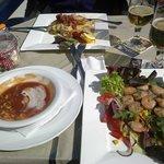 Tomato shrimp soup & meal shrimp salad