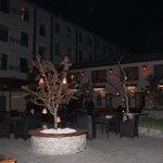 Courtyard lit up at night