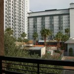 Balcony overlooks Hooters & Tropicana