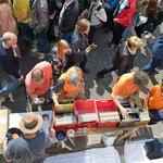 View below of shoppers from Vermeer Room