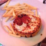 Kids pepperoni pizza with fries.