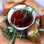 Vegetable spring rolls with sweet chilli dip