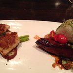 Sea bass and halibut entree
