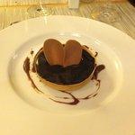 Dessert - Chocolate and salted soft caramel tartlet, chocolate and caramel sauce