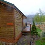 Cabin, pond (April.. snowing lightly)