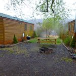 Cabins, pond