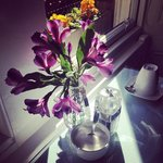 Fresh flowers on the breakfast table