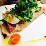 Open faced kiln roasted salmon sandwich with duck egg
