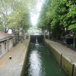 A lock on the Canal St. Martin in front of the hotel