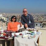 Lovely breakfast on rooftop terrace