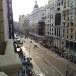 The view from our room balcony on Gran Via Street