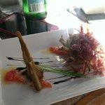 Alcachofa frito con un corazón de yema de huevo y jamón ibérico ... Un sueño !
