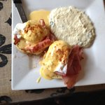 Eggs Benedict and Cheese Grits