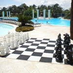 Chess board by one of the main pools