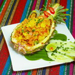 pineapple fried rice with chicken or seafood
