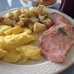 Ham, eggs, potatoes and toast