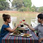 romantic dinner on riverside