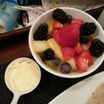 Room service - fresh fruit with dairy cream