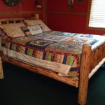 The bed in the Lodge cabin!