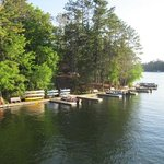 The Pointe Hotel and Suite docks on Lake Minocqua