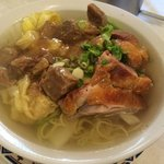 Beautiful roast duck, beef stew and won ton :))