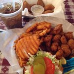 Popcorn shrimp combo and meat pies