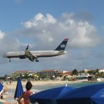 view from the Maho beach watching the planes land and take off