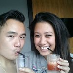 Us with our welcome drinks!
