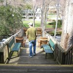 Large deck perched above the creek