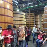 Sampling aged sour beer, behind us are the barrels they age in.