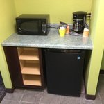 Tile entry with refrigerator and microwave (4/26/14 - Room 201)