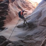 First Rappel on Morning Glory route