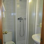 The bathroom and shower in our room.