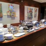 Many hot items on the breakfast buffet