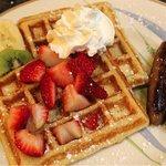 Yummy Belgium Waffles with Strawberries and Cream