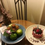 Birthday Cake and Welcome fruits